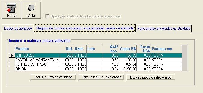 Exemplo do registro de uso de insumos no software Gerente AgroNegócios S7 - Módulo Agri