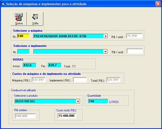 Exemplo do registro do uso de máquinas no software Gerente AgroNegócios S7 - Módulo Agri