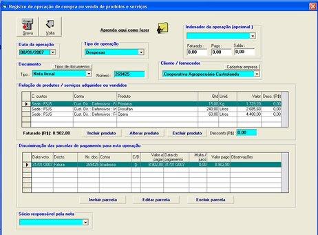 Exemplo de uma operação de compra ou venda no software Gerente AgroNegócios S5