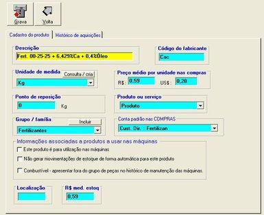 Exemplo de ficha de um produto no software rural Gerente AgroNegócios S5